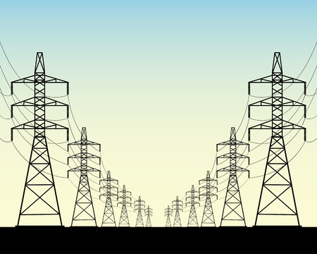 two rows of power line poles on a blue background Illustration