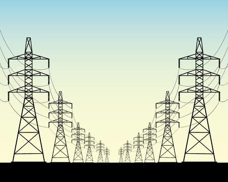 Zwei Reihen von Stromleitungsmasten auf einem blauen Hintergrund Standard-Bild - 27518349