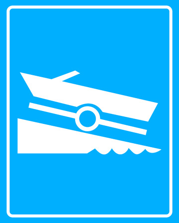 on ramp: white sign with a boat trailer on a blue background in frame Illustration
