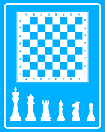 White icon of chess on a blue background in frame Иллюстрация