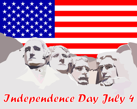 Mount Rushmore on the background of the USA flag and the inscription Independence Day July 4 Illustration