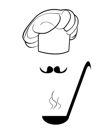 ladle: Figure toque and ladle on a white background