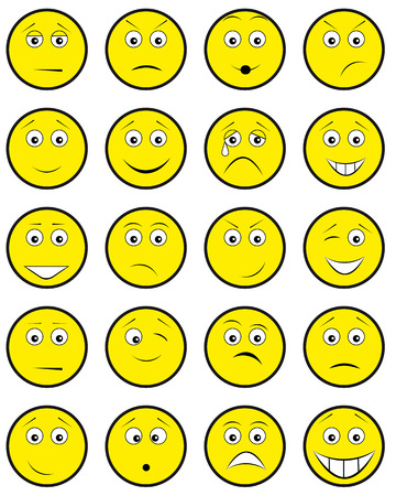 chuckle: Group round yellow smileys on white background