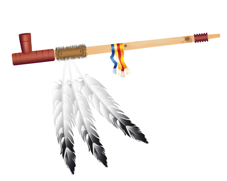 peace pipe: Traditional Indian smoking pipe of peace on a white background