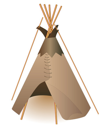 wigwam: Traditional Indian tepee on a white background