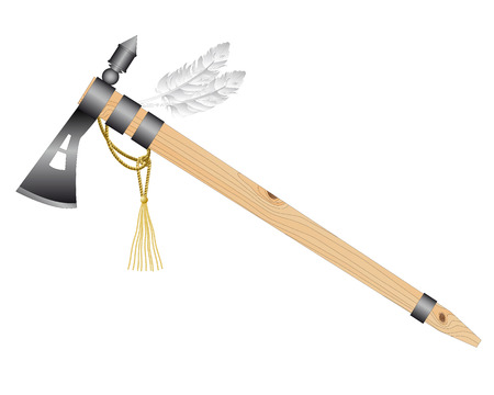 native american tomahawk: Indian tomahawk battle ax on a white background