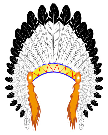 indian tribal headdress: feather headdress Indian chief on a white background