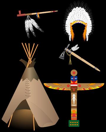 totem indien: la vie des Indiens d'Amérique du ord objets sur un fond noir Illustration