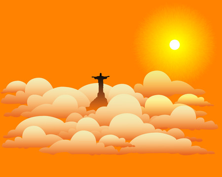 jews: statue of Jesus Christ in the clouds with the sun in orange tones Illustration