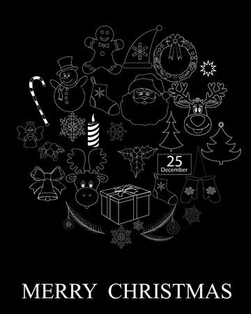 set of christmas pattern on black background Vector