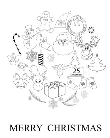 set of Christmas pattern on a white background Vector