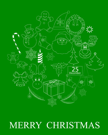 a set of drawings of Christmas symbols on a green background Vector