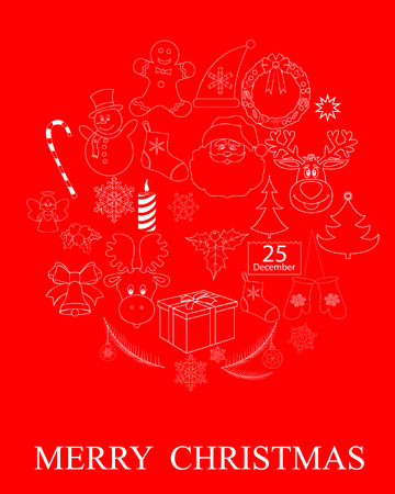 a set of drawings of Christmas symbols on a red background Vector