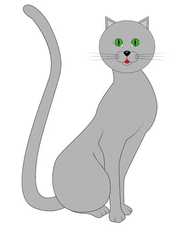 gray cat: drawing a gray cat with green eyes on white background Illustration