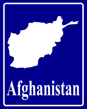 afghanistan: sign as a white silhouette map of Afghanistan with an inscription on a blue background Illustration