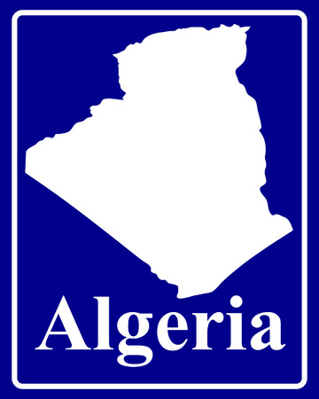algeria: sign as a white silhouette map of Algeria with an inscription on a blue background Illustration