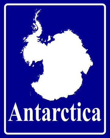 antartide: segno come una silhouette bianco mappa dell'Antartide con una scritta su sfondo blu