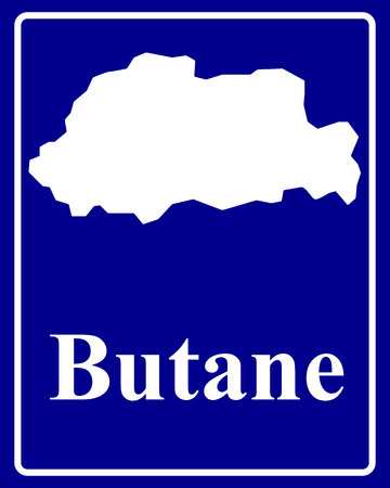 butane: firmar como un mapa de la silueta blanca de butano con una inscripci�n sobre un fondo azul