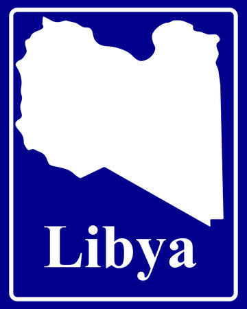 libya: sign as a white silhouette map of Libya with an inscription on a blue background