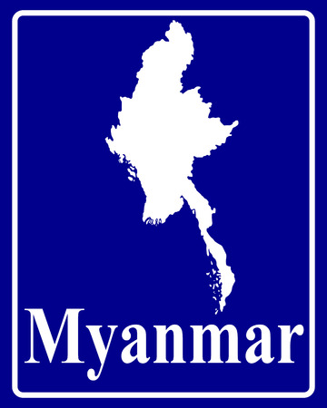 myanmar: sign as a white silhouette map of Myanmar with an inscription on a blue background