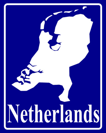 sign as a white silhouette map of Netherlands with an inscription on a blue background Vector