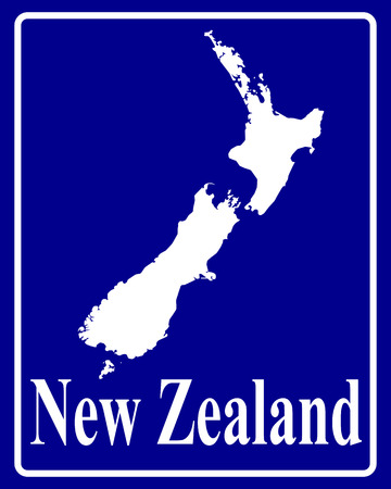 sign as a white silhouette map of New Zealand with an inscription on a blue background Ilustracja
