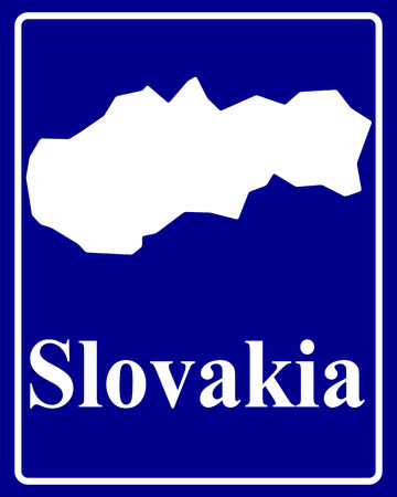 sign as a white silhouette map of Slovakia with an inscription on a blue background