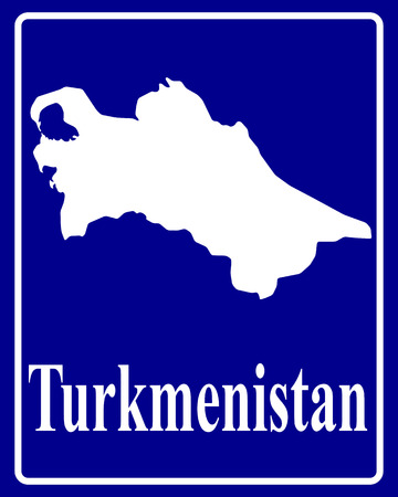 turkmenistan: sign as a white silhouette map of Turkmenistan with an inscription on a blue background