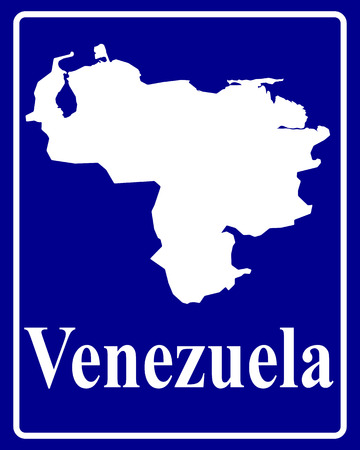 mapa de venezuela: firmar como un mapa de la silueta blanca de Venezuela con una inscripción sobre un fondo azul