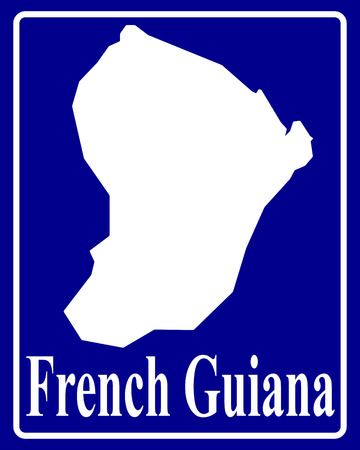 french guiana: sign as a white silhouette map of French Guiana with an inscription on a blue background