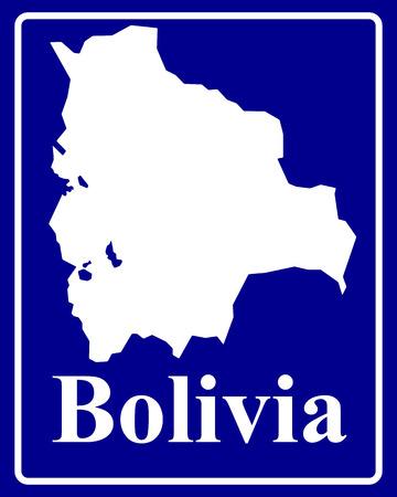 mapa de bolivia: firmar como un mapa de la silueta blanca de Bolivia con una inscripción sobre un fondo azul Vectores