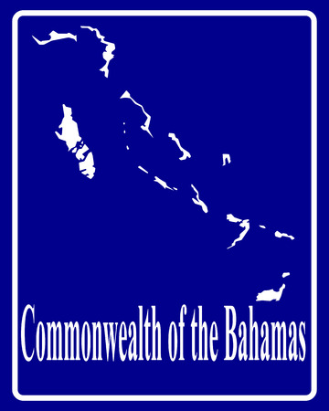 bahamas map: sign as a white silhouette map of Commonwealth of the Bahamas with an inscription on a blue background