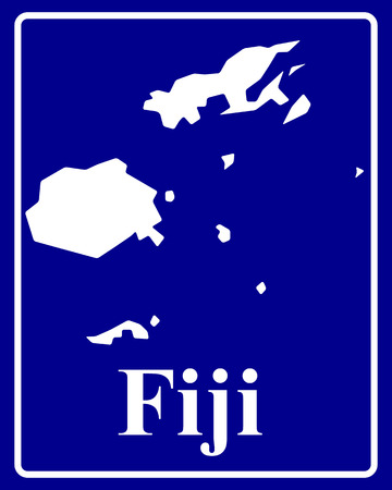 fiji: sign as a white silhouette map of Fiji with an inscription on a blue background