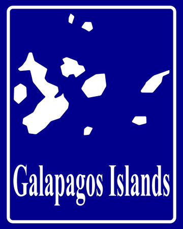 sign as a white silhouette map of Galapagos Islands with an inscription on a blue background Vector