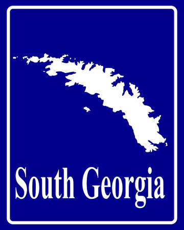 south georgia: sign as a white silhouette map of South Georgia with an inscription on a blue background