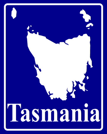 tasmania: sign as a white silhouette map of Tasmania with an inscription on a blue background