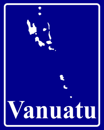 vanuatu: sign as a white silhouette map of Vanuatu with an inscription on a blue background