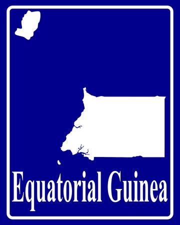 guinea equatoriale: firmare come una silhouette carta bianca della Guinea Equatoriale con una scritta su sfondo blu