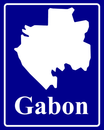 gabon: sign as a white silhouette map of Gabon with an inscription on a blue background Illustration