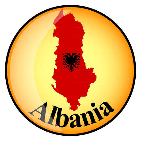 albania: orange button with the image maps of Albania in the form of national flag