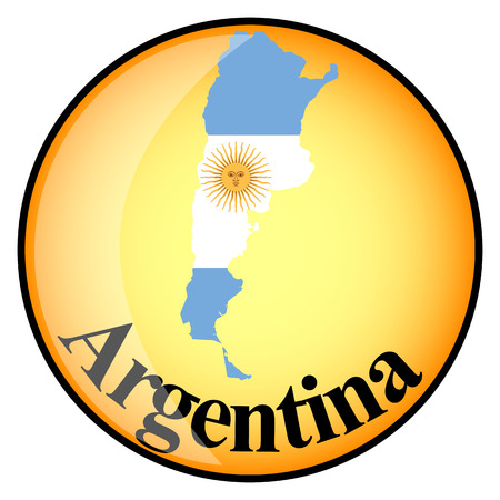 map of argentina: orange button with the image maps of Argentina in the form of national flag