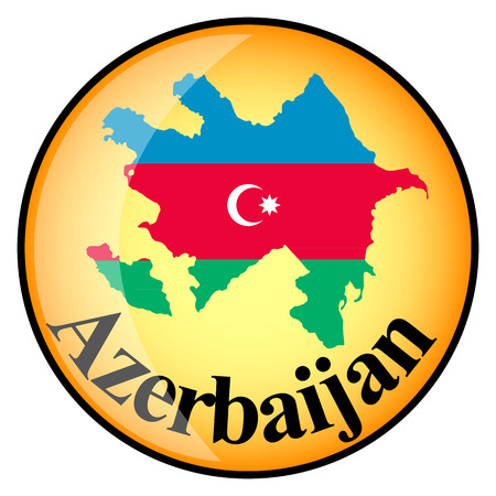 azerbaijan: orange button with the image maps of Azerbaijan in the form of national flag
