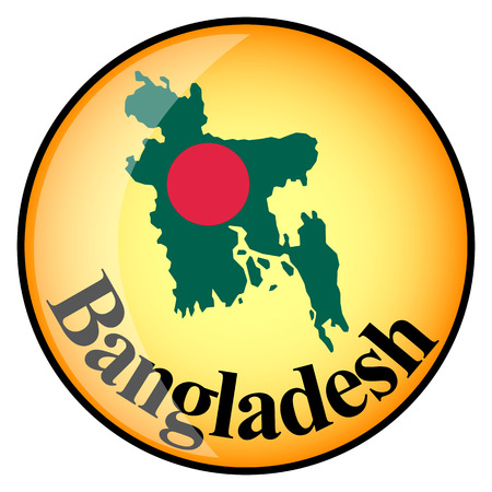 bangladesh: orange button with the image maps of Bangladesh in the form of national flag
