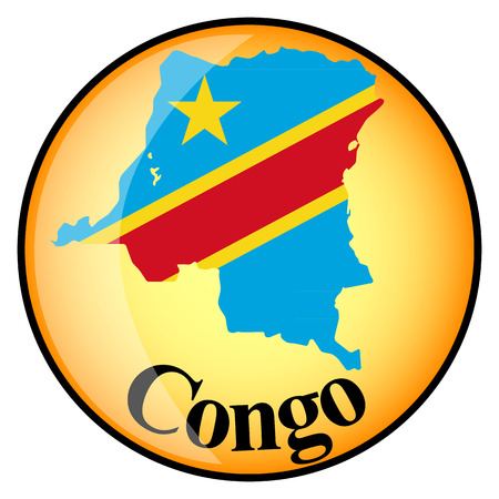 congo: orange button with the image maps of Congo in the form of national flag