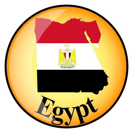 bandera de egipto: botón naranja con los mapas de imagen de Egipto en la forma de la bandera nacional Vectores