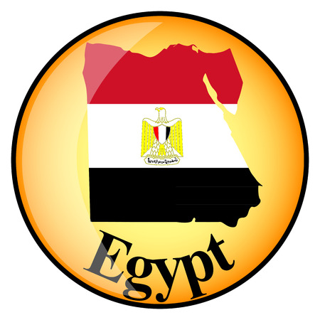 egypt flag: orange button with the image maps of Egypt in the form of national flag