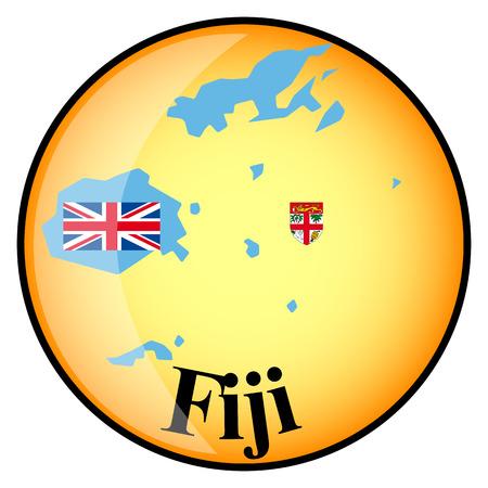 fiji: orange button with the image maps of button Fiji Stock Illustratie