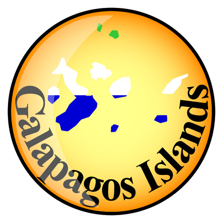 orange button with the image maps of button Galapagos Islands in the form of national flag Vector