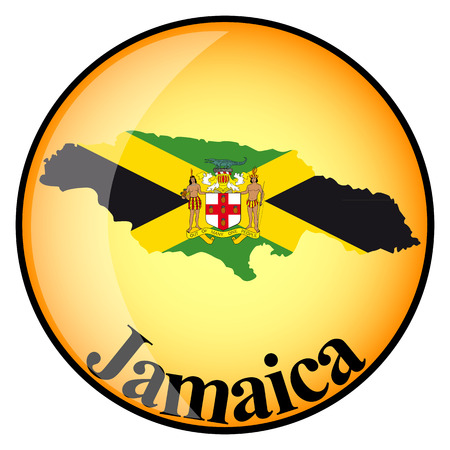 jamaica: orange button with the image maps of Jamaica in the form of national flag