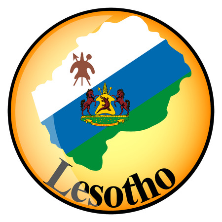 lesotho: orange button with the image maps of Lesotho in the form of national flag